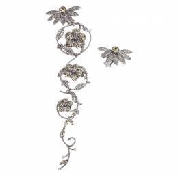 Burberry Half Daisy Crystal Silver Tone Clip-on Asymmetric Stud Drop Earrings 246321