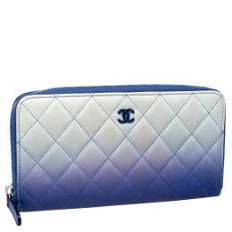 Chanel Blue Ombre Leather CC Zip Around Wallet 246694