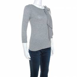 Carolina Herrera Grey Wool Blend Jersey Bow Detail Top XS 245864