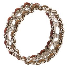 Chanel Make Fashion Not War Leather Gold Tone Wide Bangle Bracelet 246382