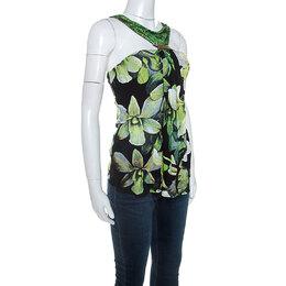 Roberto Cavalli Black Floral Printed Knit Brooch Detail Top S 246296