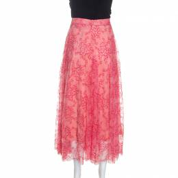 Burberry Pink Pleated Lace Wilton Midi Skirt L 245232