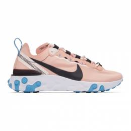 Nike Pink and Black React Element 55 Sneakers 201011F12804908GB