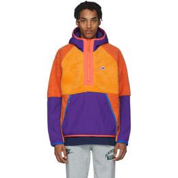 Nike Orange Sherpa Fleece Pullover Jacket BV3766