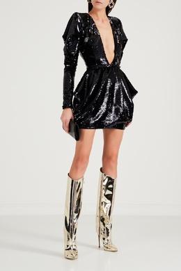 Платье с глубоким V-образным вырезом и пайетками Alexandre Vauthier 356166525
