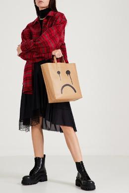 Бежевая кожаная сумка-шоппер с черным принтом Balenciaga 397166569