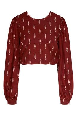 Бордовая блуза с длинными рукавами Johanna Ortiz 2942166545