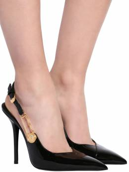 110mm Patent Leather Sling Back Pumps Versace 71IWTY009-RDQxT0g1
