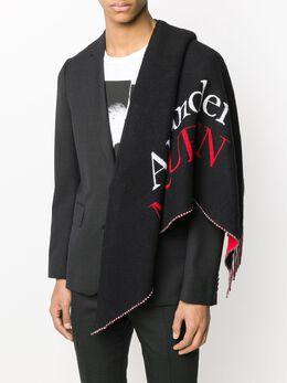 Alexander McQueen logo-print striped shawl scarf 5959494C07Q