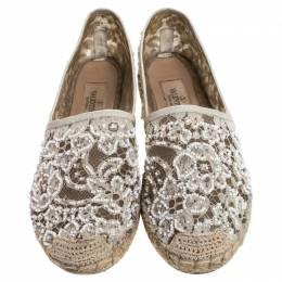Valentino White Lace Embellished Espadrilles Slip On Loafers Size 35 247328