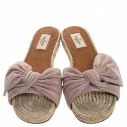 Valentino Beige Suede Bow Slip On Slides Size 38 247080