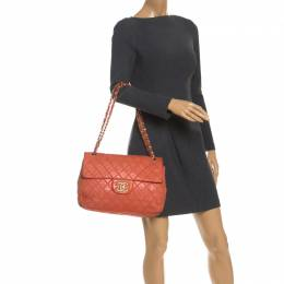 Chanel Orange Quilted Leather Maxi Classic Single Flap Bag 246171
