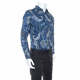 Etro Blue Cotton Paisley Printed Long Sleeve Button Front Shirt M