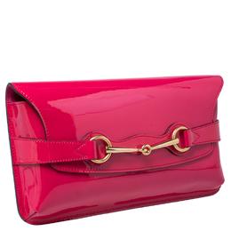 Gucci Pink Patent Leather Bright Bit Clutch 245061