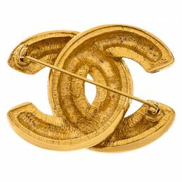 Chanel CC Vintage Quilted Gold Tone Pin Brooch 246806