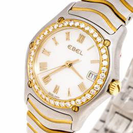 Ebel Mother of Pearl 18K Yellow Gold and Stainless Steel Diamond Classic Wave E1087F21 Women's Wristwatch 24MM 247477