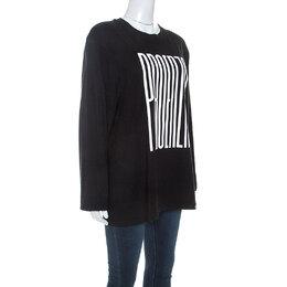 Proenza Schouler Black Cotton Embossed Logo Detail T-shirt M 245433