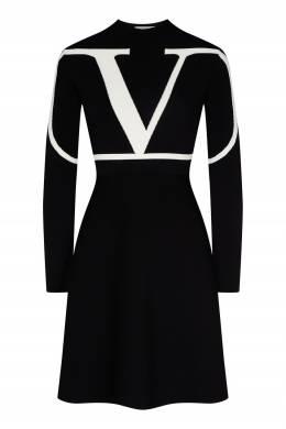 Черное платье с логотипом Valentino 210146959