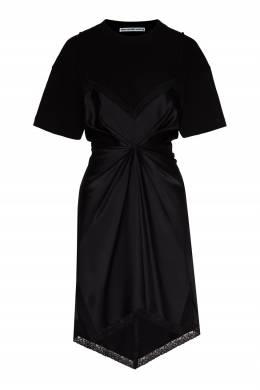 Черное мини-платье из хлопка и шелка Alexander Wang 367166755