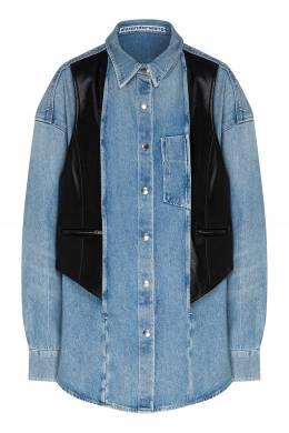 Джинсовая рубашка с кожаным жилетом Alexander Wang 367166750