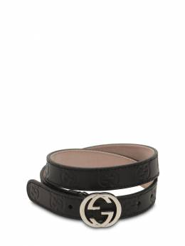 Embossed Logo Leather Belt Gucci 71ILAS018-MTAwMA2
