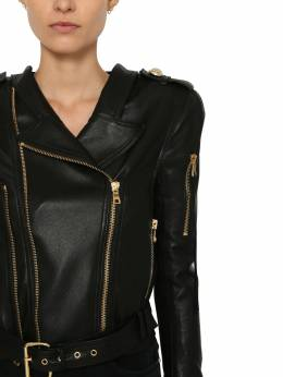 Cropped Leather Biker Jacket Balmain 71IL5Z103-MFBB0