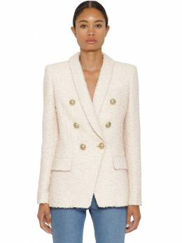 Double Breast Cotton Blend Tweed Jacket Balmain 71IL5Z092-NEFE0