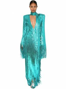 Sequined Long Dress W/ Fringes Balmain 71IL5Z084-NlVL0