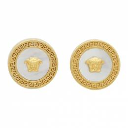 Versace Gold Mother-Of-Pearl Tribute Earrings 201404F02202401GB