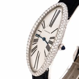 Cartier Silver 18K White Gold Diamond Baignoire Allongee 2604 Women's Wristwatch 19MM 246797