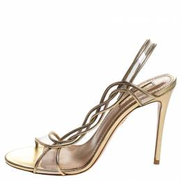 Aquazzura Metallic Gold Leather And PVC Swing Sandals Size 38 247074