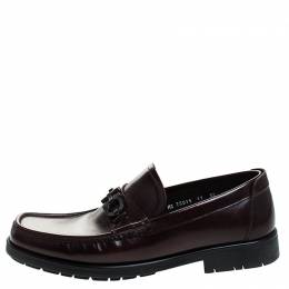 Salvatore Ferragamo Burgundy Leather Gancini Loafers Size 45
