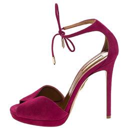 Aquazzura Fuschia Pink Suede Platform Ankle Wrap Sandals Size 38 246975