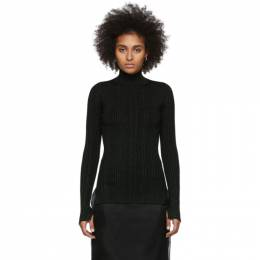 Helmut Lang Black and Green Lurex Rib Turtleneck 201154F09903902GB