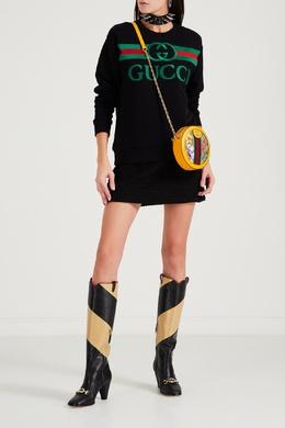 Черный свитшот с винтажным логотипом Gucci 470166979