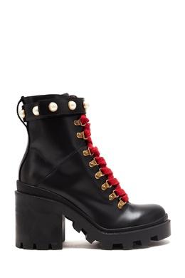 Кожаные ботильоны на шнуровке Gucci 470167000