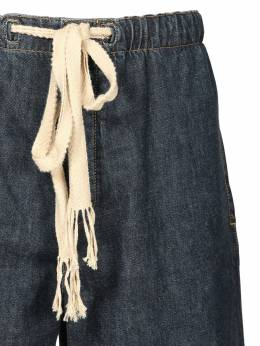 Elongated Drawstring Cotton Denim Shorts Loewe 71I6HC017-NTgyMA2
