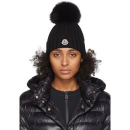 Moncler Black Fur Pom Pom Beanie 201111F01403301GB