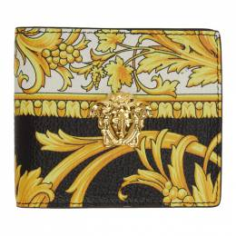 Versace Black and Yellow Barocco Medusa Bifold Wallet 201404M16412601GB