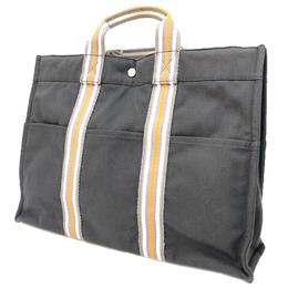 Hermes Gray/Orange Cotton MM Tote Bag