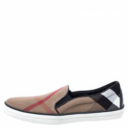 Burberry Multicolor Canvas And Leather Gauden Slip On Sneakers Size 41 248058