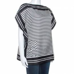 Carolina Herrera Monochrome Striped Silk Kaftan Top XS 247891