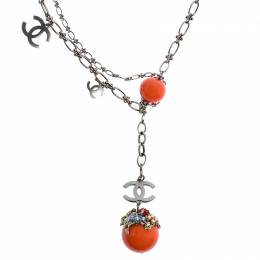 Chanel Silver Tone Resin and Crystal Embellished Charm Necklace 246200