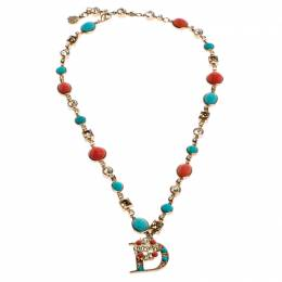 Dior Gold Tone Crystal Two Tone Beads Embellished D Pendant Necklace 246161