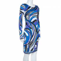 Emilio Pucci Blue Signature Printed Jersey Buckled Dress S 245899