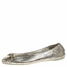 Gucci Silver Guccissima Leather Horsebit Ballet Flats Size 40 247955