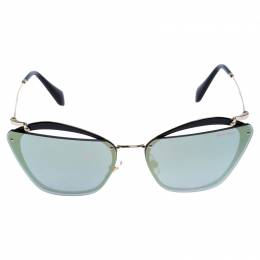 Miu Miu Gold/Black Mirror SMU 54T Cut Out Sunglasses 247930