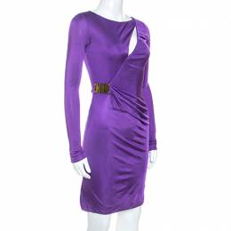Emilio Pucci Purple Jersey Buckle Detail Ruched Waist Dress S 245747