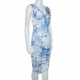 Emilio Pucci Blue and White Printed Ruched Sleeveless Dress S 245757
