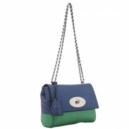 Mulberry Blue/Green Lambskin Leather Lily Shoulder Bag 244713